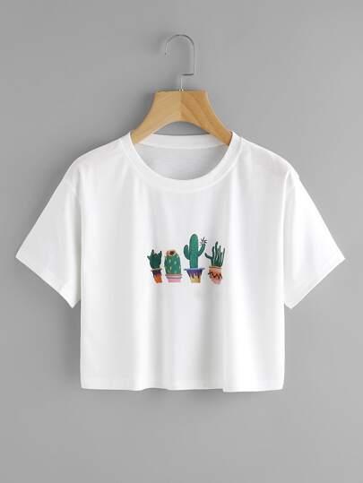 Camiseta con estampado de cacto