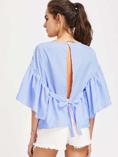 Self Tie Open Back Kimono Sleeve Striped Top
