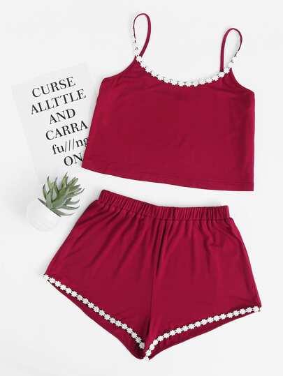 Floral Lace Applique Cami And Shorts Pajama Set