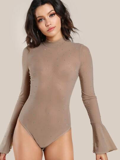 Embellished Long Sleeve Bodysuit NUDE