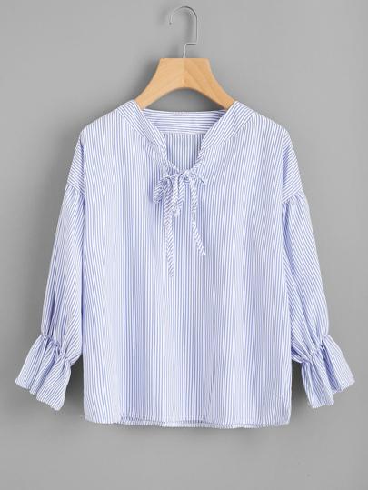 Vertical Striped Drop Shoulder Tie Detail Blouse