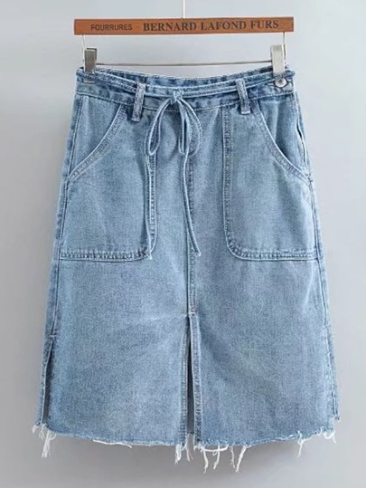 Tie Waist Raw Hem Split Detail Denim Skirt