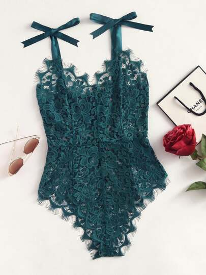 Ribbon Tie Shoulder See Though Floral Lace Bodysuit
