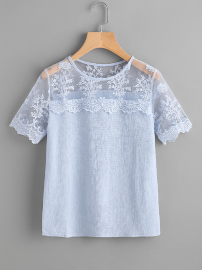 Embroidery Mesh Panel Scallop Trim Blouse