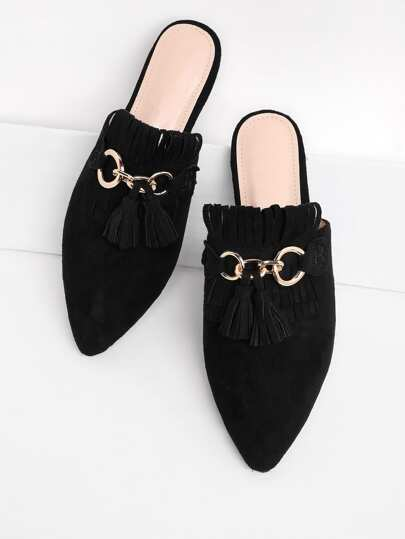 Tassel Detail Pointed Toe Flat Mules