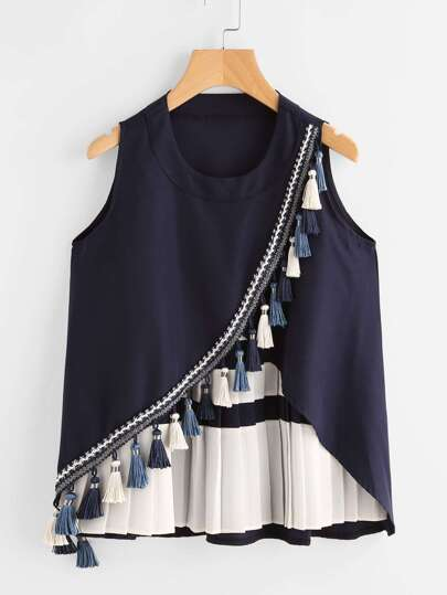 Contrast Panel Tassel Trim Overlap Tank Top