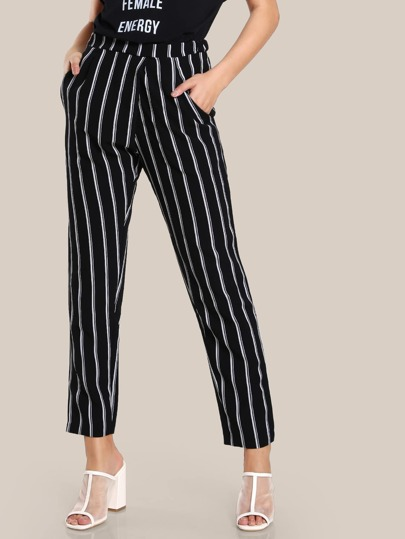 Striped High Rise Skinny Pants BLACK