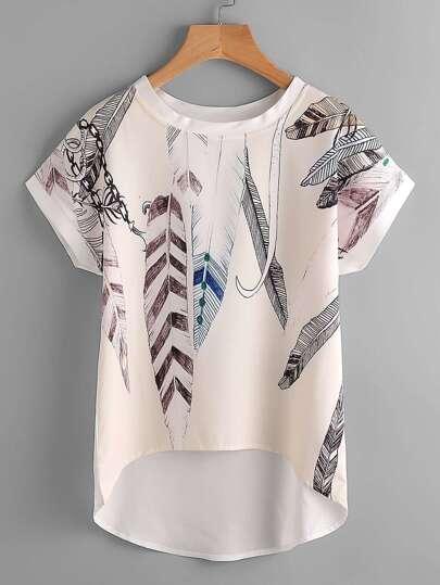Bluse mit Blumenmuster, Fledermausärmeln und abfallendem Saum