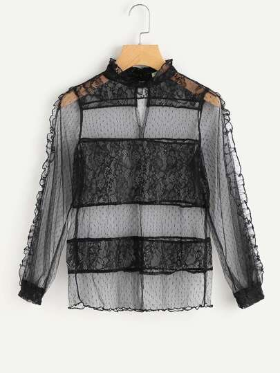 Contrast Lace Frill Trim Sheer Top