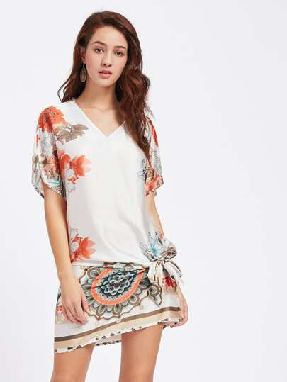 Belt Detail Dolman Sleeve Dress