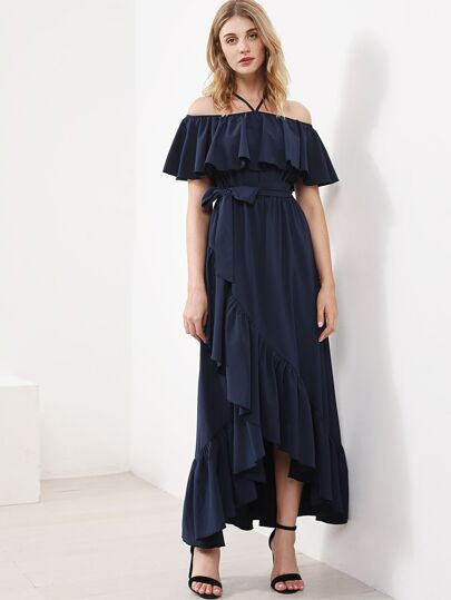 Halter Frill Off Shoulder Overlap Tiered Dress