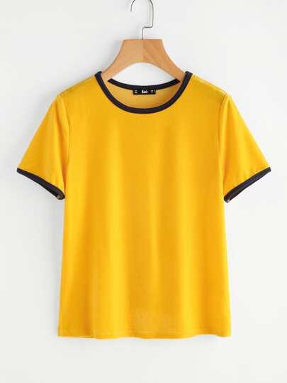 Camiseta simple de terciopelo