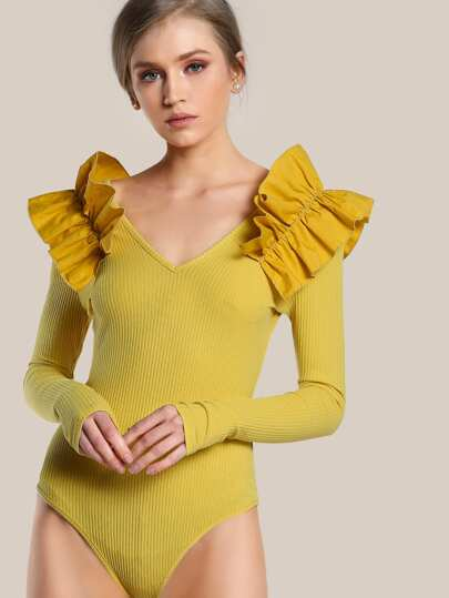 Ribbed Ruffle Shoulder Long Sleeve Bodysuit MUSTARD