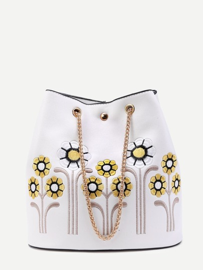 Flower Embroidery PU Shoulder Bag