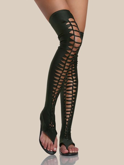 Braided Thigh High Thong Sandals OLIVE