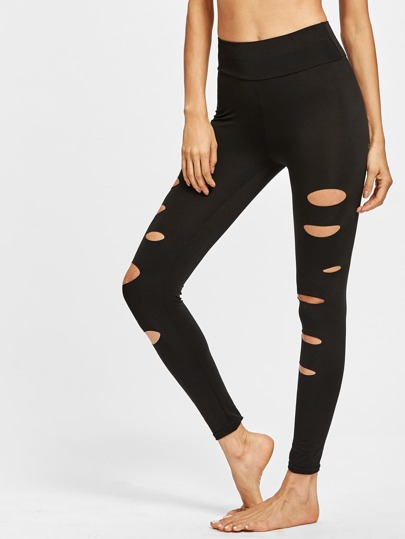 Ripped High Waist Ankle Leggings