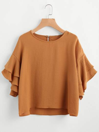 Tiered Bell Sleeve Keyhole Back Blouse