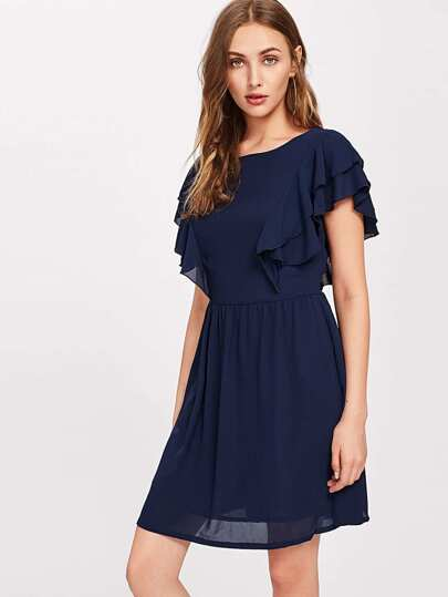 Layered Flutter Sleeve Smock Dress