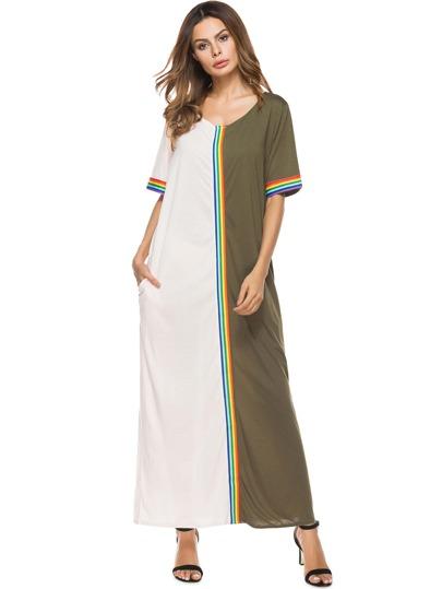 Rainbow Trim Color Block Dress