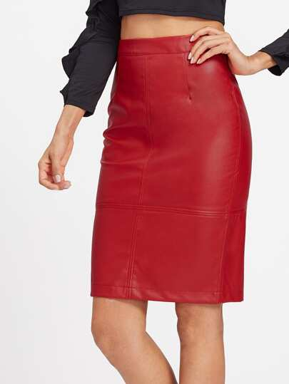 PU Slit Back Pencil Skirt