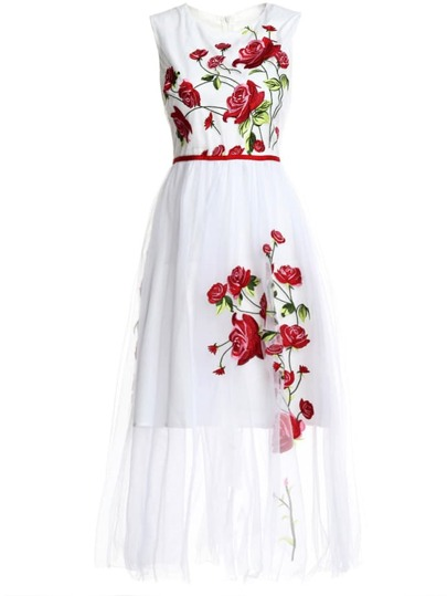 Flowers Gauze Embroidered Long Dress