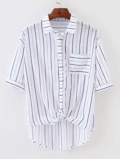 Knotted Hem Striped Shirt