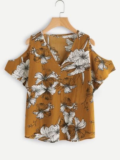 V Neckline Open Shoulder Random Florals Blouse