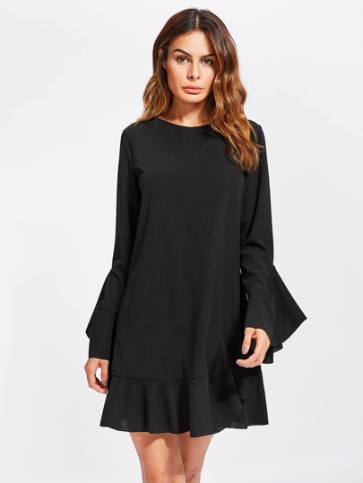 Fluted Sleeve Frilled Hem Dress