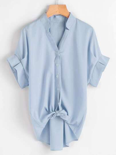 Frill Cuff Knot Front Dip Hem Blouse