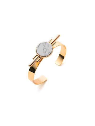 Marble Detail Metal Cuff Bracelet