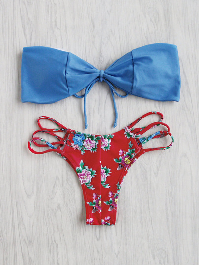 Calico Print Ladder Cutout Mix & Match Bikini Set
