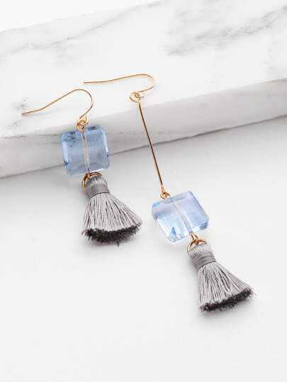 Tassel & Crystal Design Mismatch Earrings