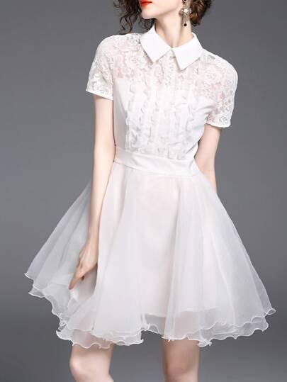 Flounce Contrast Lace Scallop Dress