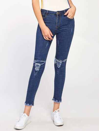 Ripped Knee Frayed Hem Jeans
