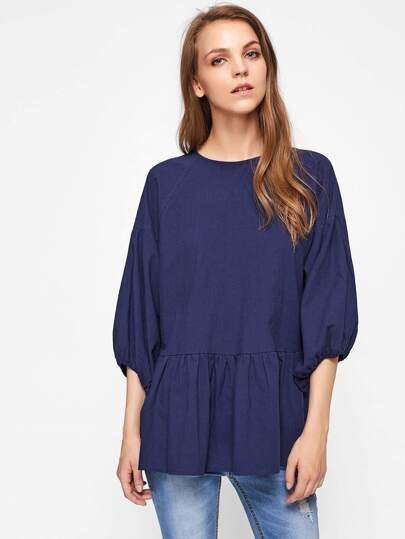 Bishop Sleeve Button Keyhole Back Smock Blouse