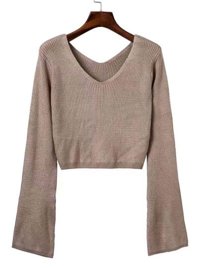 Bell Sleeve Crop Sweater