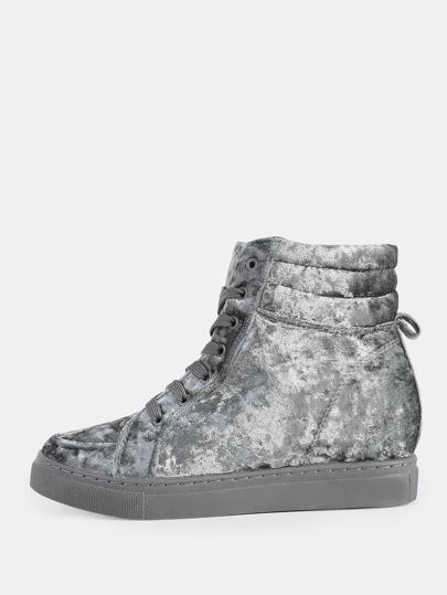 Velvet High Top Sneakers