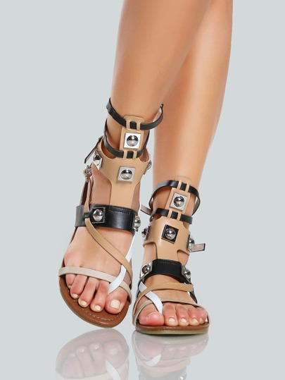 Faux Leather Multi Buckle Sandals BLACK