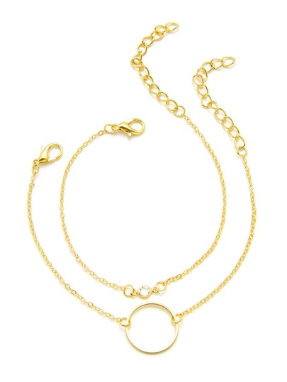 Rhinestone & Ring Detail Chain Bracelet 2pcs