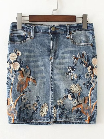Embroidery Denim Bodycon Skirt