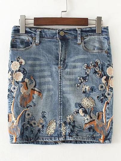 Gonna di jeans con ricamo