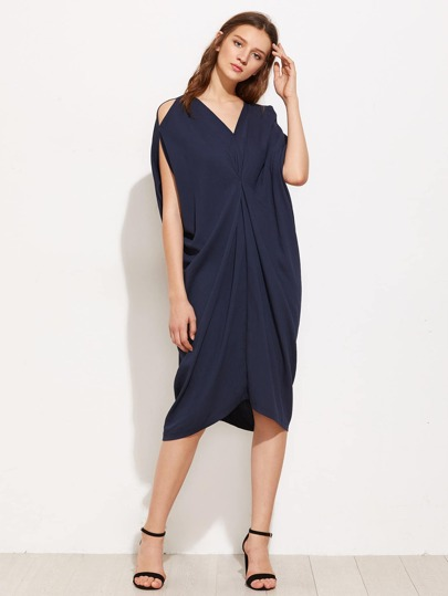 Split Shoulder Draped Detail Cocoon Dress