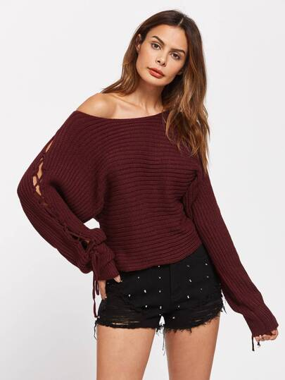 Rib Knit Lace Up Dolman Sleeve Jumper