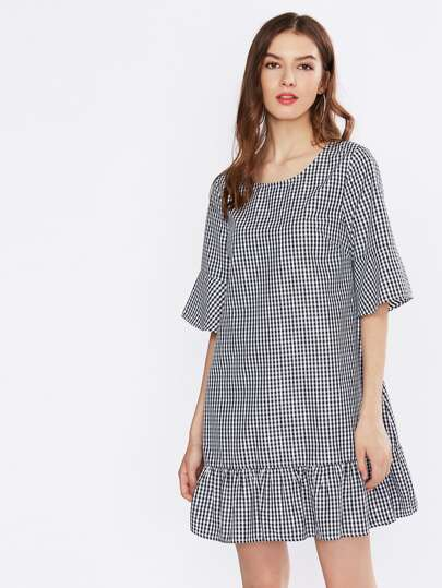 Trumpet Sleeve Tiered Hem Gingham Dress