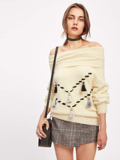 Foldover Off Shoulder Tasseled Whipstitch Fuzzy Jumper