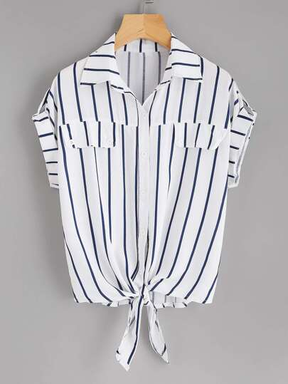 Rolled Sleeve Knotted Hem Striped Shirt
