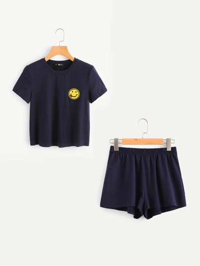 Emoji Patch Tee And Shorts Set
