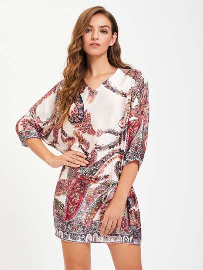 V-Neckline Tribal Print Shift Dress