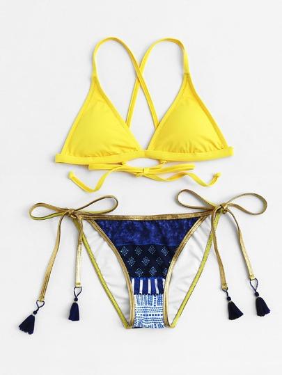 Self Tie High Leg Tassel Trim Bikini Set
