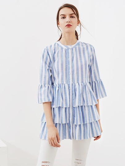 Contrast Striped Flute Sleeve Tiered Frill Hem Blouse